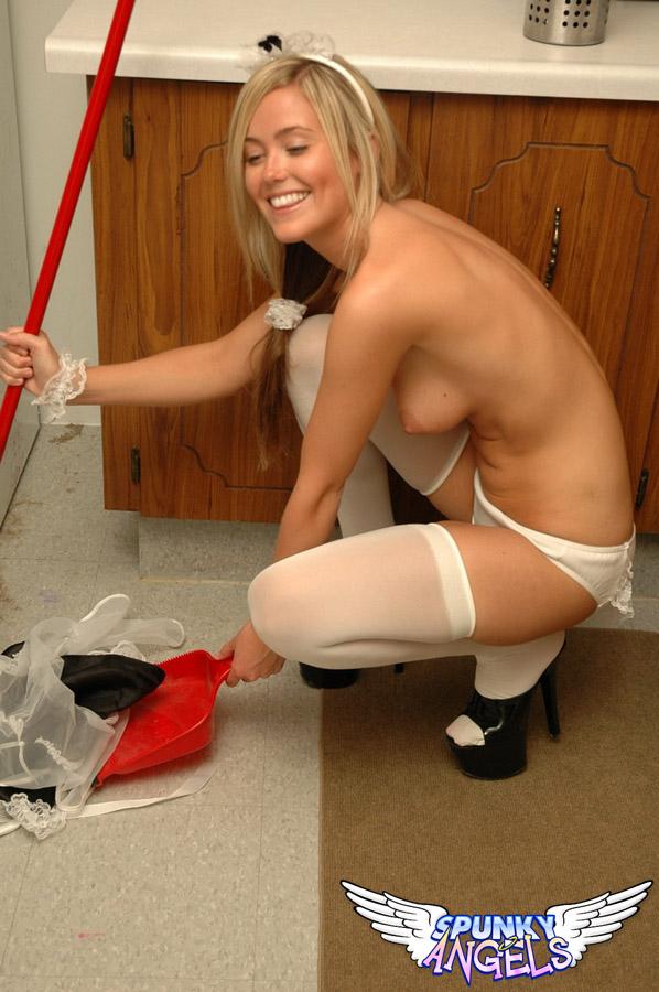 One blond teen maid getting SOO