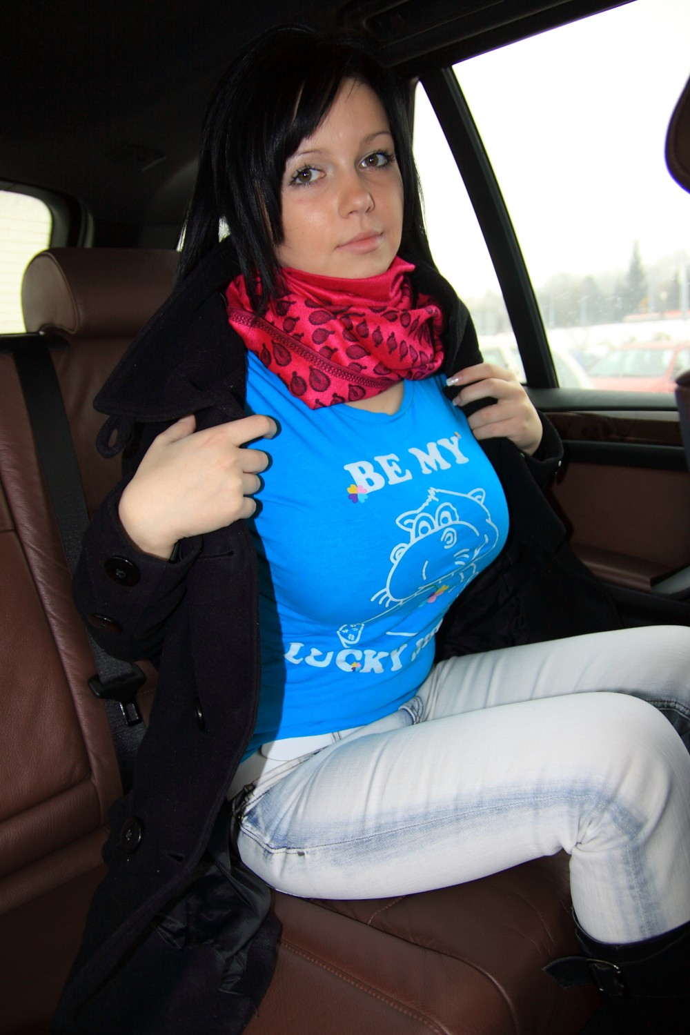Join. teen girl changing in car