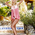 Aaliyah Love in a sexy pink lingerie outdoors - image